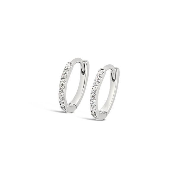 14K White Gold Fashion Diamond Huggie Earrings Padis Jewelry San Francisco, CA
