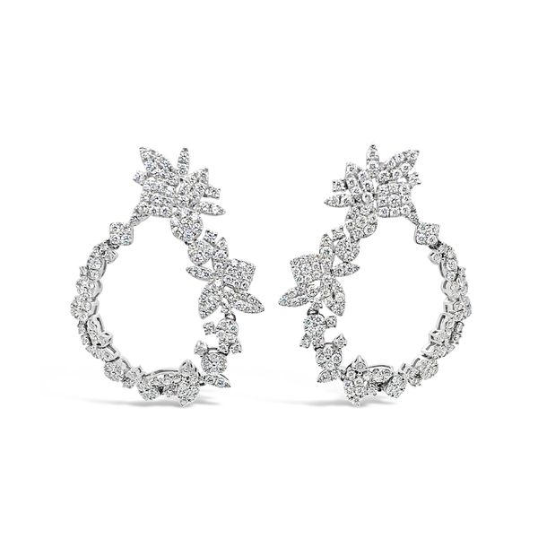 Ladies' 18K White Gold Waterfall Diamond Earrings Image 2 Padis Jewelry San Francisco, CA