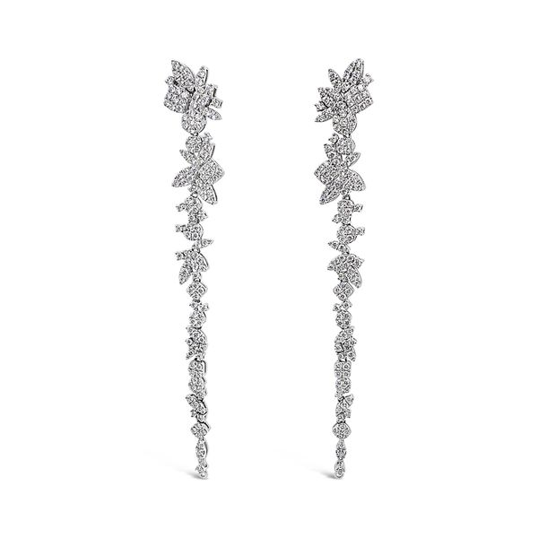 Ladies' 18K White Gold Waterfall Diamond Earrings Padis Jewelry San Francisco, CA