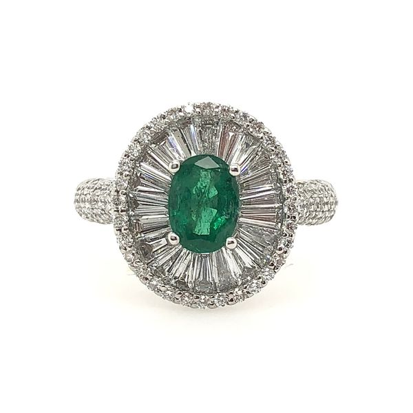 Emerald and Diamond Halo Ring Padis Jewelry San Francisco, CA