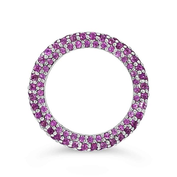 18KT White Gold & Pink Sapphire Pave Eternity Ring Image 2 Padis Jewelry San Francisco, CA