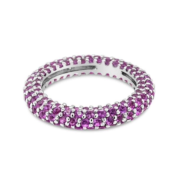 18KT White Gold & Pink Sapphire Pave Eternity Ring Padis Jewelry San Francisco, CA