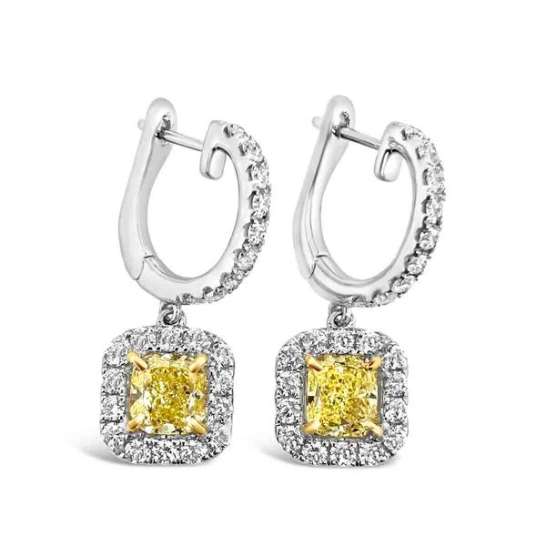 18KT White Gold and Fancy Yellow Diamond Earrings Padis Jewelry San Francisco, CA