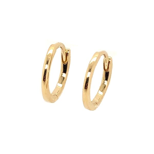 14K Yellow Gold Plain Huggie Earrings Padis Jewelry San Francisco, CA
