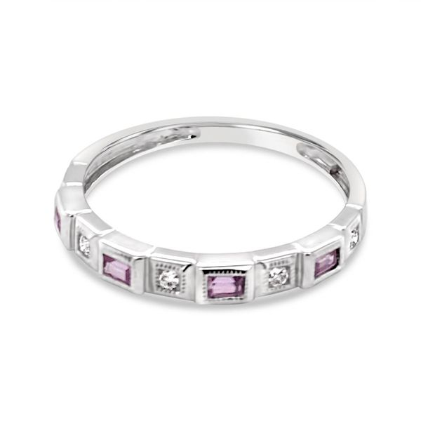 14KT White Gold Pink Sapphire and Diamond Stackable Ring Padis Jewelry San Francisco, CA