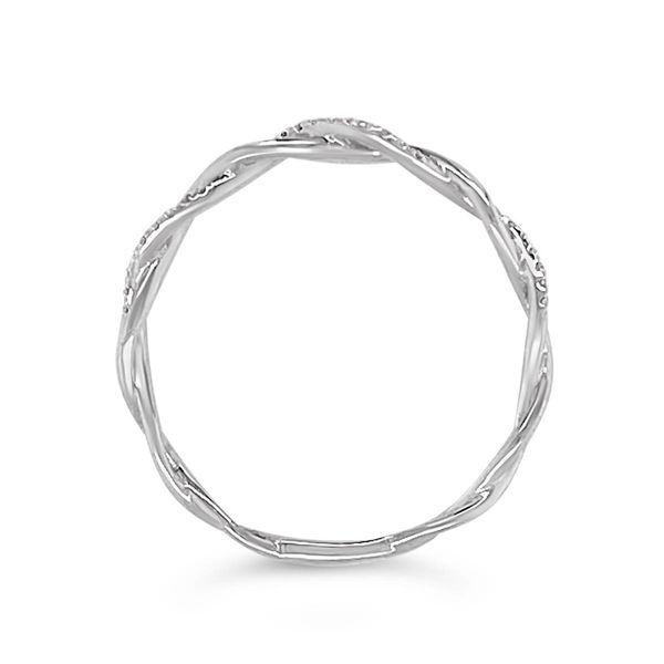 14KT White Gold Diamond Crisscross Stackable Ring Image 2 Padis Jewelry San Francisco, CA