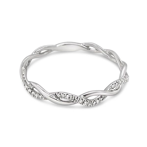 14KT White Gold Diamond Crisscross Stackable Ring Padis Jewelry San Francisco, CA