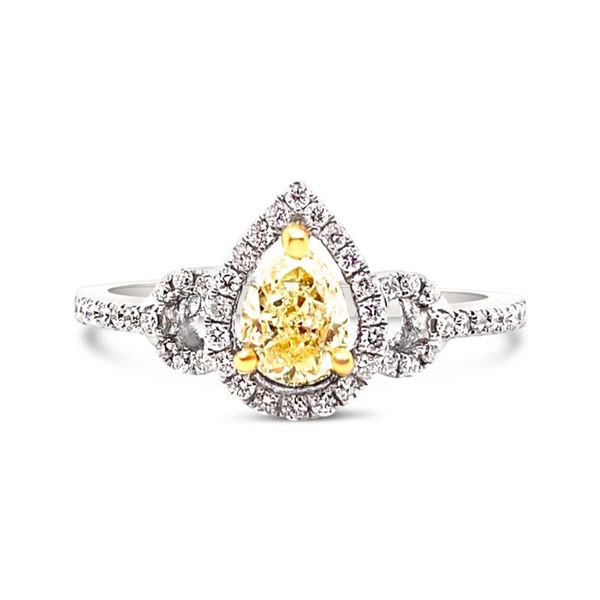 Fancy Yellow Diamond Halo Ring Padis Jewelry San Francisco, CA