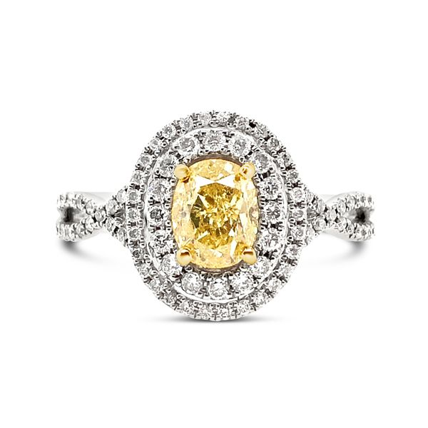 18KT White Gold Double Halo Fancy Yellow Oval Diamond Ring Padis Jewelry San Francisco, CA