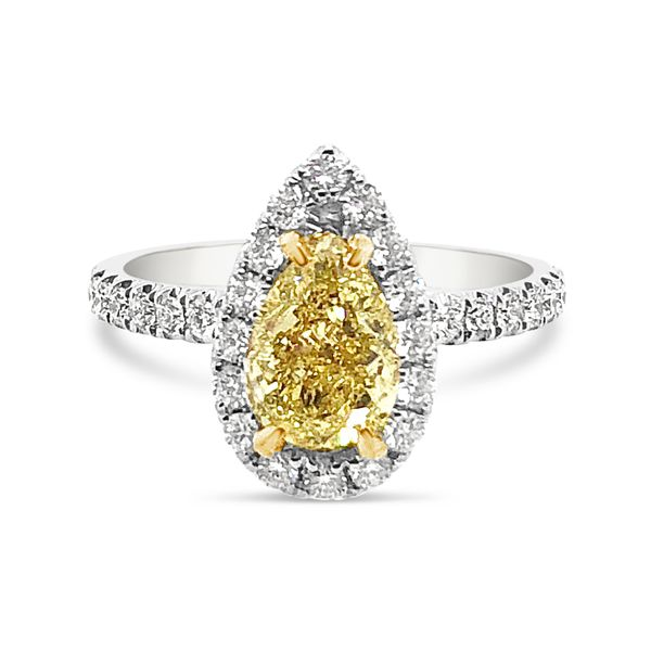 18K White Gold Halo Fancy Yellow Diamond Ring Padis Jewelry San Francisco, CA