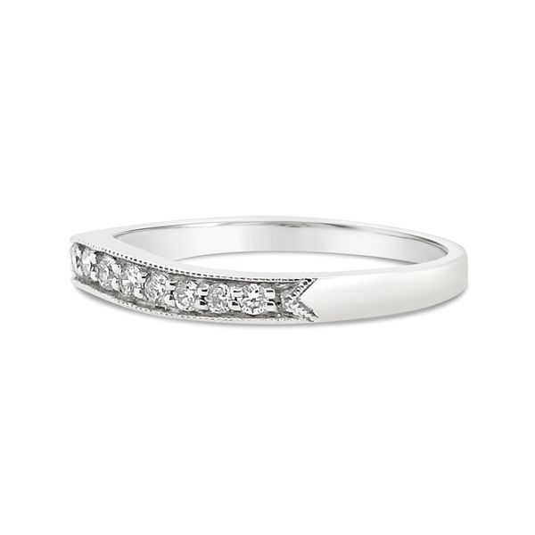 18KT White Gold Channel Set Diamond Curve Anniversary Band Image 2 Padis Jewelry San Francisco, CA