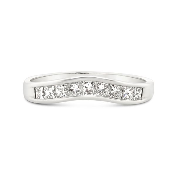 18KT White Gold Channel Set Diamond Curve Anniversary Band Padis Jewelry San Francisco, CA