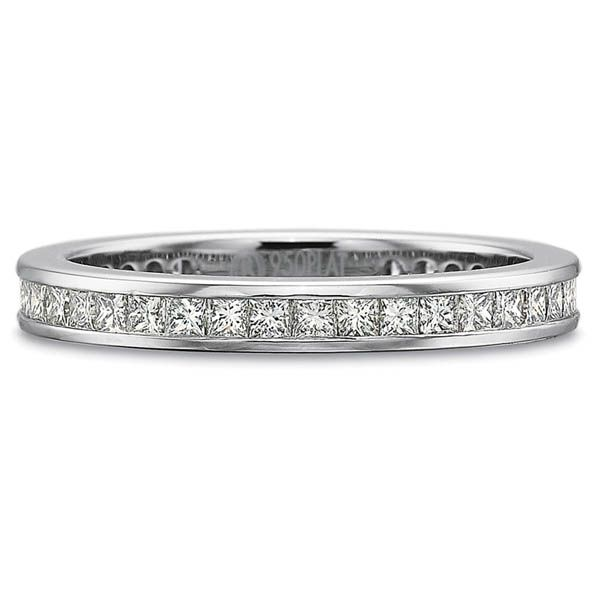 Precision Set Wedding Ring | 18K White Gold Channel Set Princess Eternity Ring | Style No. 001-711-00687