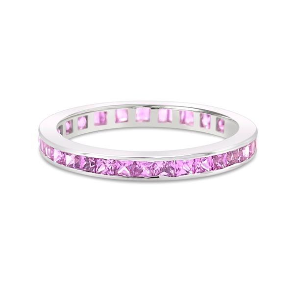 18KT White Gold and Pink Sapphire Eternity Band Padis Jewelry San Francisco, CA
