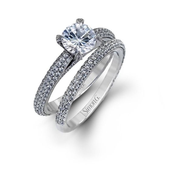 Simon G | 18K White Gold Domed Pavé Diamond Bridal Ring Set | Style No. 001-718-00379