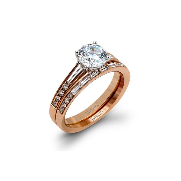 Simon G | 18K Rose Gold Bridal Set with Round Diamond Accents | Style No. 001-718-00440