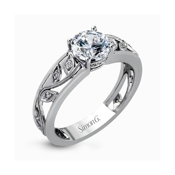 Simon G Duchess Collection | 18K White Gold Milgrain Filigree Setting | Style No. 001-718-00525