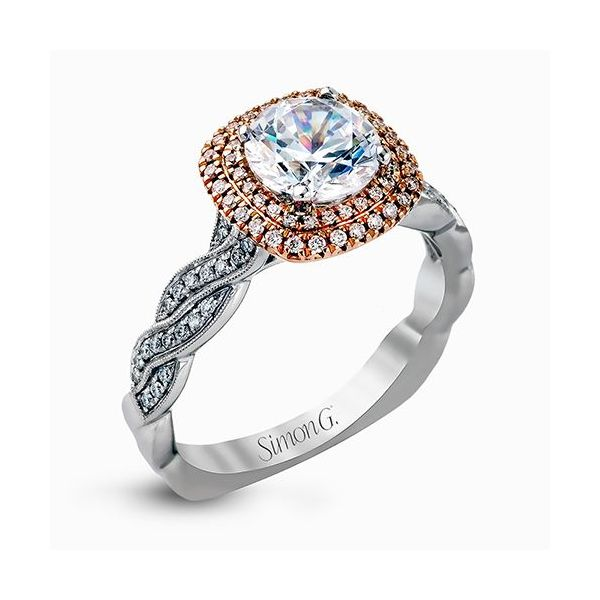 Simon G Delicate Collection | 18K White & Rose Gold Halo Diamond Ring | Style No. 001-718-00532