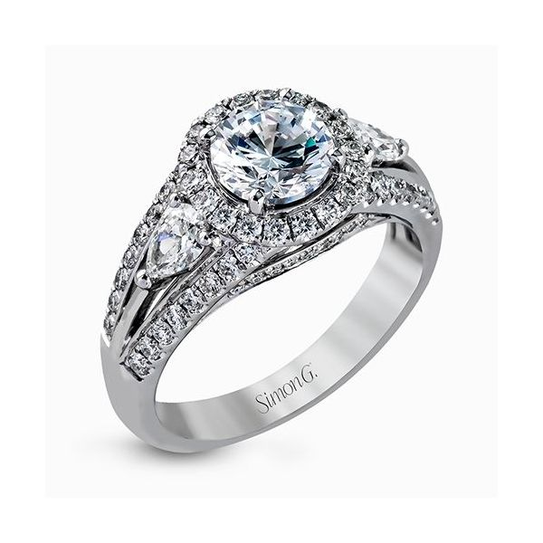 Simon G Passion Collection | 18K White Gold Split Shank Halo Diamond Ring | Style No. 001-718-00589