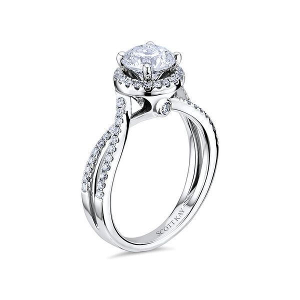 Scott Kay Luminaire Collection | 14K White Gold Diamond Halo Engagement Ring | Style No. 001-742-00440 M1756R310WW