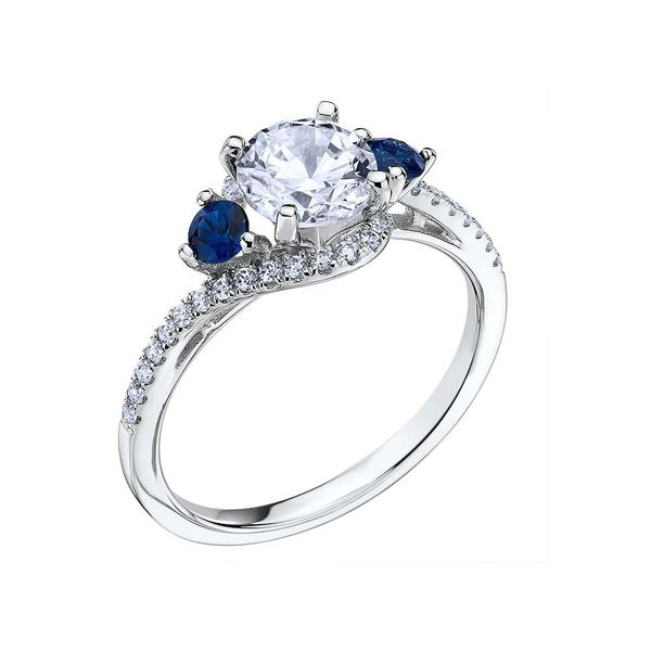 Scott Kay | 14K White Pavé Diamond Bypass Setting with Blue Sapphires | Style No. 001-742-00544 M2266R510WW