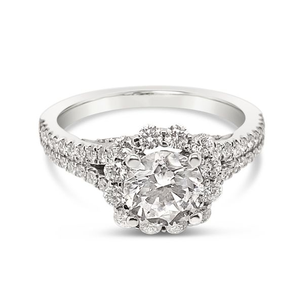 Scott Kay 14K White Gold Halo Engagement Ring Padis Jewelry San Francisco, CA