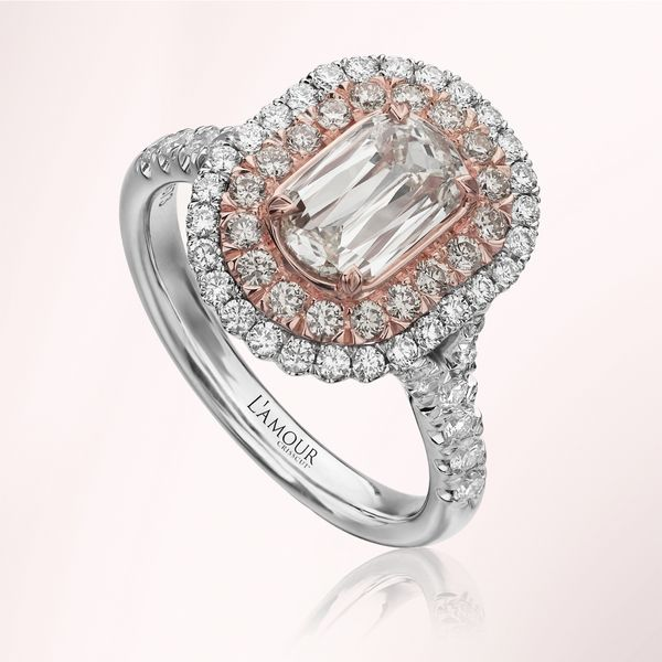 Christopher Designs L'amour 18k White and Rose Gold Halo Diamond Ring | Style No. 001-751-00007