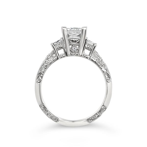 Platinum Three-Stone Engagement Diamond Ring Image 2 Padis Jewelry San Francisco, CA