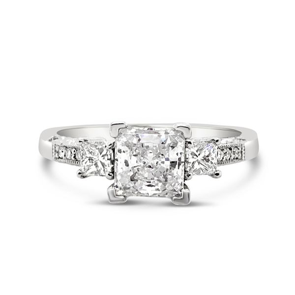 Platinum Three-Stone Engagement Diamond Ring Padis Jewelry San Francisco, CA