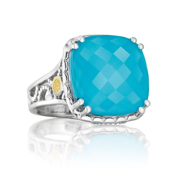 Tacori Island Rains Collection | Sterling Silver Cocktail Ring with Clear Quartz over Neolite Turquoise | Style No. 001-761-