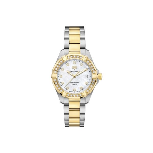 TAG Heuer Aquaracer Women's Two Tone Watch Image 2 Padis Jewelry San Francisco, CA