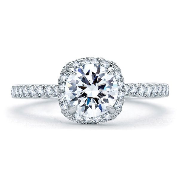 A. Jaffe Halo Engagement Ring Padis Jewelry San Francisco, CA