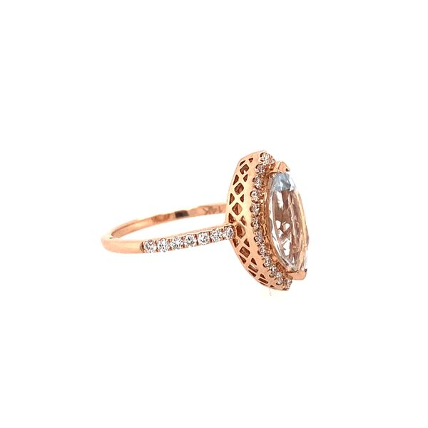 Effy Rose Gold Diamond and Aquamarine Ring Image 2 Perry's Emporium Wilmington, NC