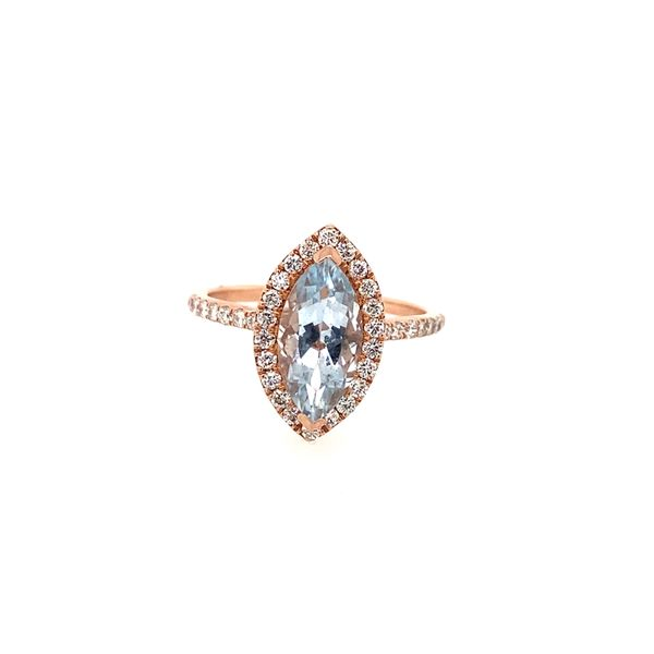 Effy Rose Gold Diamond and Aquamarine Ring Perry's Emporium Wilmington, NC