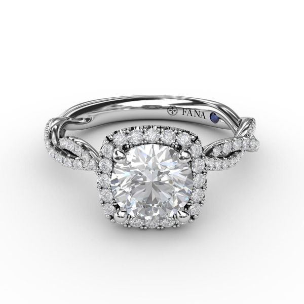 Fana Cushion Halo Engagement Ring Setting Peter & Co. Jewelers Avon Lake, OH