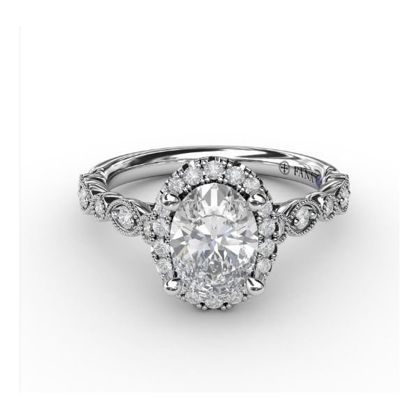 Oval Halo Engagement Ring Setting Peter & Co. Jewelers Avon Lake, OH