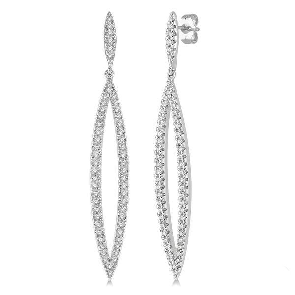 Diamond Long Open Oval Earrings Peter & Co. Jewelers Avon Lake, OH