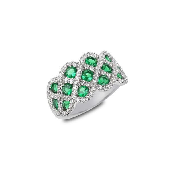 Emerald and Diamond Interweaving Ring Peter & Co. Jewelers Avon Lake, OH