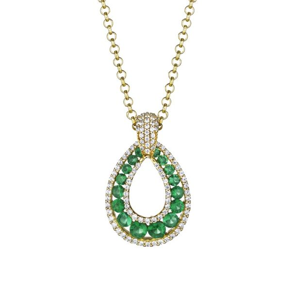 Dramatic Emerald and Diamond Drop Necklace Peter & Co. Jewelers Avon Lake, OH