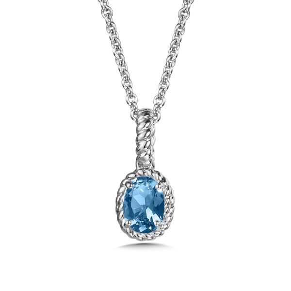 Blue Topaz Sterling Silver Pendant On 18
