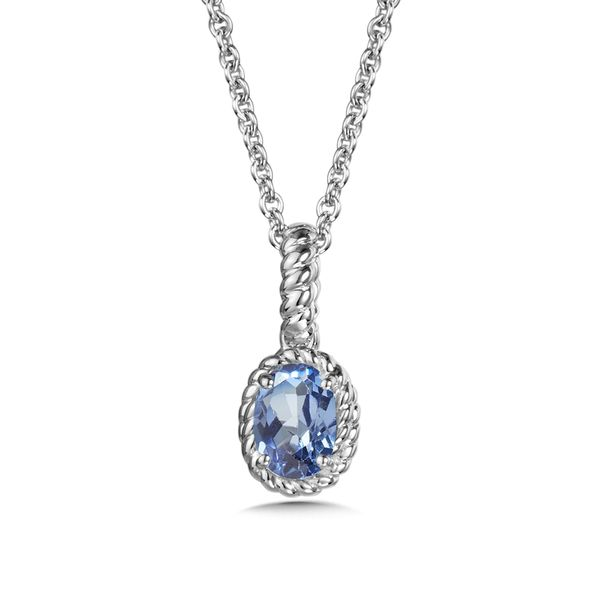 Created Blue Sapphire Pendant Necklace Peter & Co. Jewelers Avon Lake, OH
