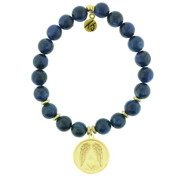 Gold Guardian Angel Kyanite Bead Bracelet Peter & Co. Jewelers Avon Lake, OH