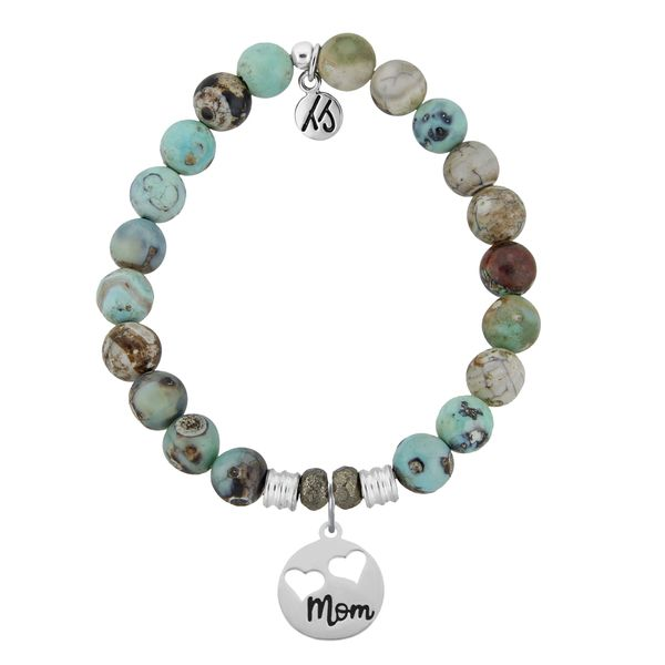 Mom Hearts Turquoise Jasper Bead Bracelet Peter & Co. Jewelers Avon Lake, OH