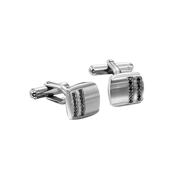 SST Black Diamond cuff links Pineforest Jewelry, Inc. Houston, TX
