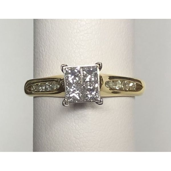 18KY Princess Invisible-Set Diamond Engagement Ring Pineforest Jewelry, Inc. Houston, TX