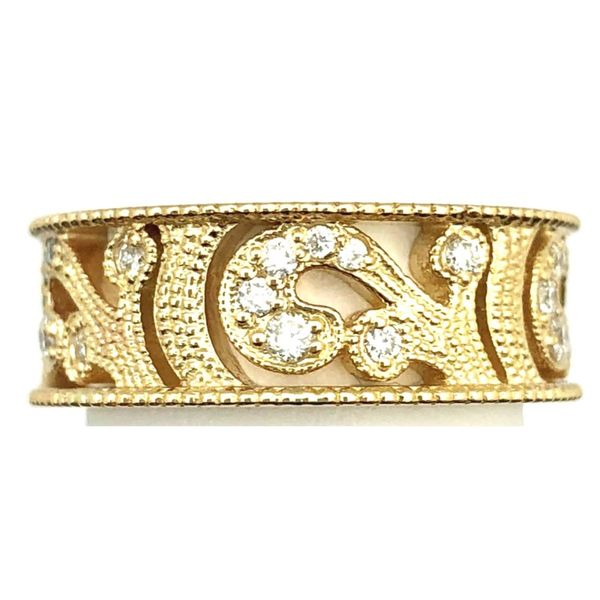 14KY Diamond Scroll Band 0.45ctTW Pineforest Jewelry, Inc. Houston, TX