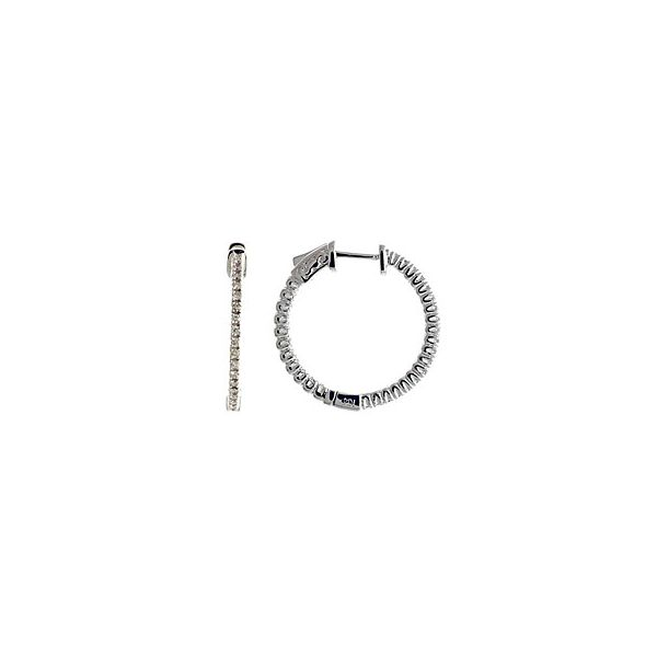 14KW Diamond Hoop Earring Pair 0.60ctTW Pineforest Jewelry, Inc. Houston, TX