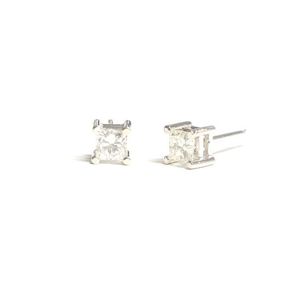 14KW 0.58ctTW Princess-Cut Natural Diamond Stud Earring Pair Pineforest Jewelry, Inc. Houston, TX