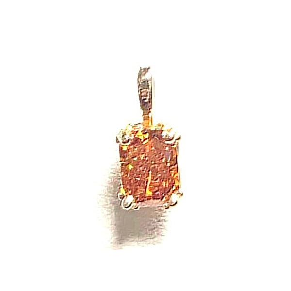 14KY Solitaire Radiant-Cut Tangerine Diamond Pendant 0.80ct Pineforest Jewelry, Inc. Houston, TX