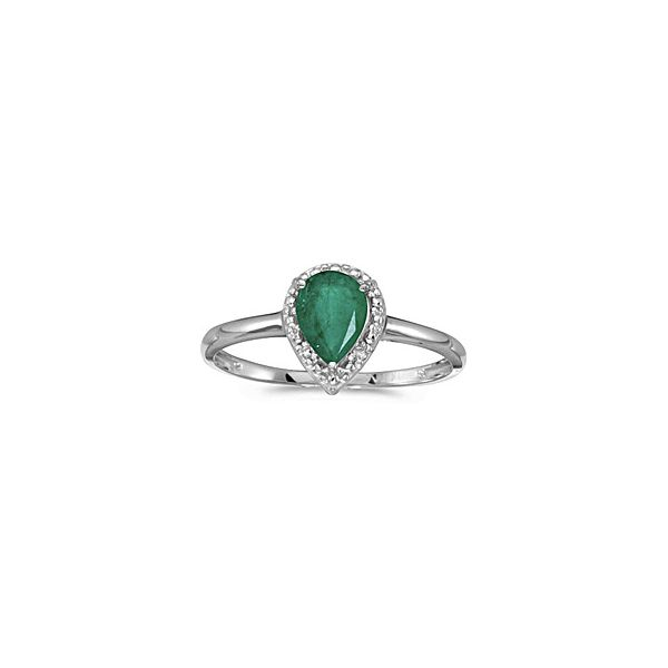 14KW Pear Shaped Emerald & Diamond Ring Pineforest Jewelry, Inc. Houston, TX